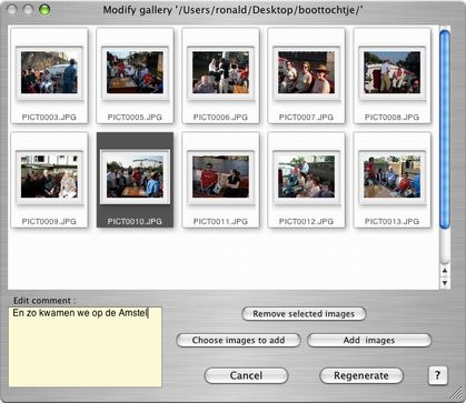 "Modify gallery (Using ""Modify existing gallery..."" from the Generate ..."